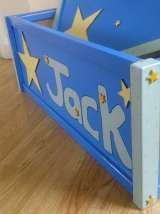 side of the toy box £45.00 can be painted to any theme, embellsihaments added and name. each are vanished to have that everlasting look