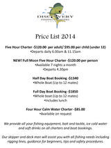 Pricelists of Discovery Fishing Charters