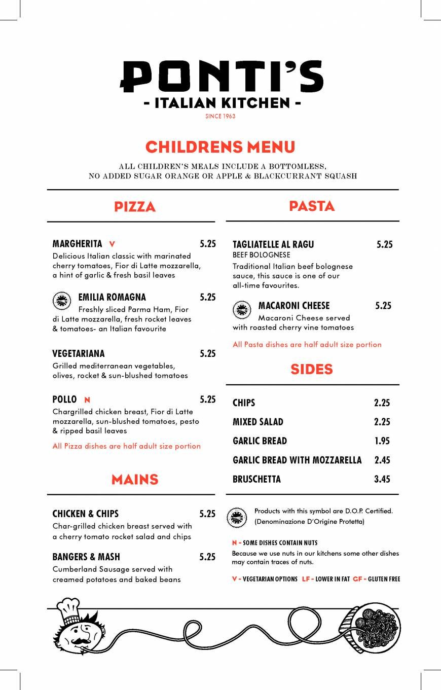 7 of 8 price lists & menus – ponti's italian kitchen -oxford