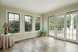 Porch in suburban home with door to patio, Commonwealth Energy Systems, Richmond
