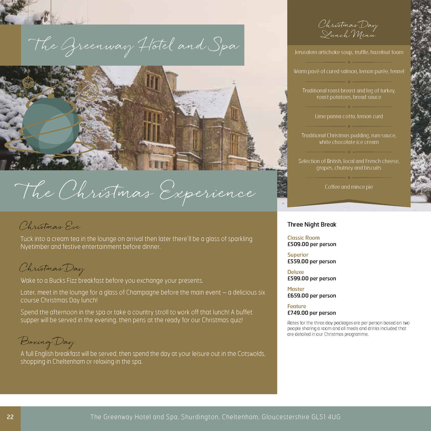 The Kings Hotel Chipping Campden Menu