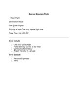 Pricelists of Everest Flight (Mountain Flight)