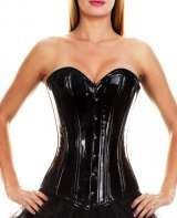Waist training corset - black PVC. Long length, steel boned. £120.00