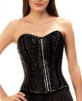 Black PVC herringbone corset. Short length, steel boned. £125.00, Corsetera Ltd, London