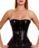 Black PVC waist training corset. Short length, steel boned. £99.00, Corsetera Ltd, London