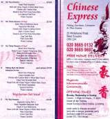 Pricelists of Chinese Express Chinese Takeaway