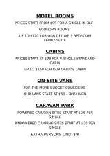 Pricelists of Gawler Ranges Motel and Caravan Park
