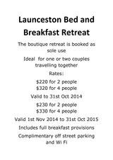 Pricelists of Launceston Bed and Breakfast Retreat