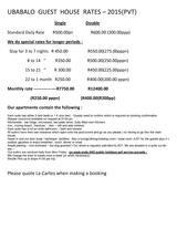 Pricelists of Grace Place (ubabalo exclusive accommodation)