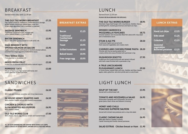 1 of 2 Price Lists & Menus – The Old Tile Works Barton Upon