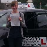Anna passing her driving test 1st time with Accord Driving School Falmouth Accord Driving School 7 Woodside