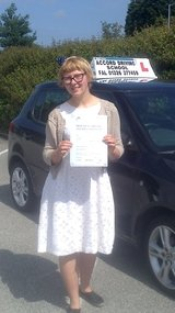 Auburn passing her driving test with Accord Driving School Falmouth