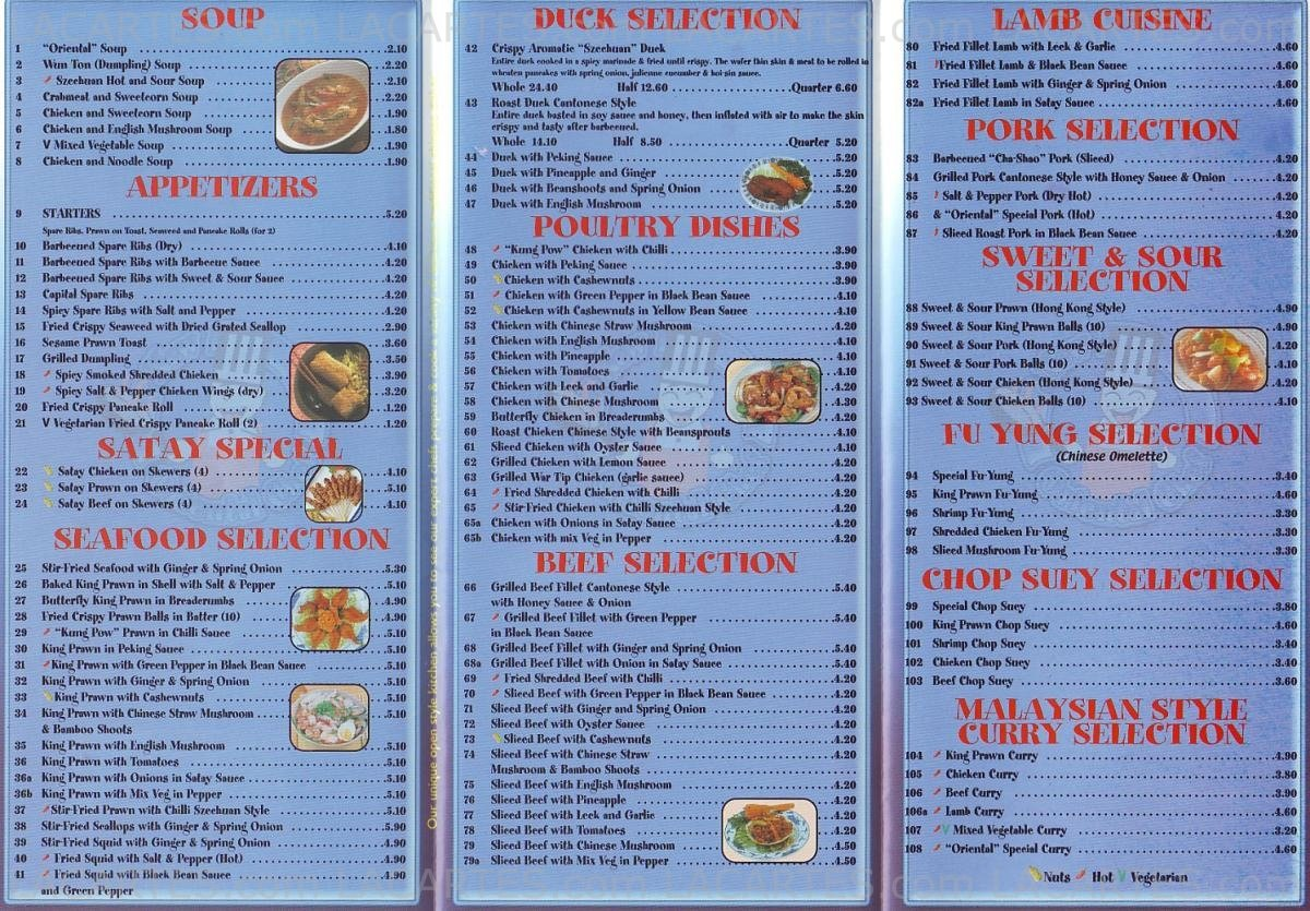 1 of 2 Price Lists & Menus – New Oriental Chef Chinese Takeaway ...