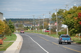 A view down Main street. We are on the curve past the far car. Harbour Tide Inn ~ Bed & Breakfast 725 Main Street