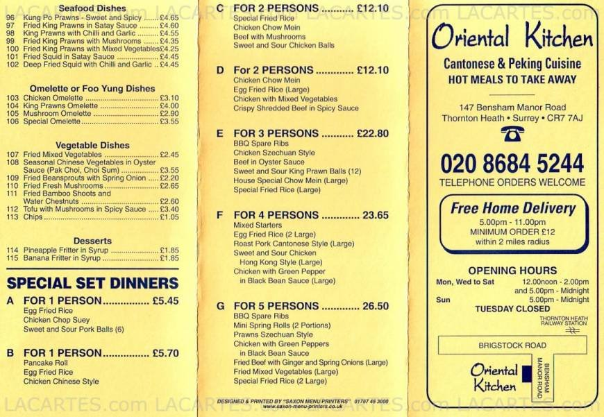 2 of 2 price lists menus oriental kitchen chinese for Perfect kitchen takeaway menu