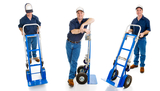Three different views of a delivery man with his hand truck.  Full body isolated on white.  , Man with Van Chiswick Ltd., Chiswick