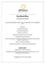 Pricelists of Al Fresco Bar & Restaurant