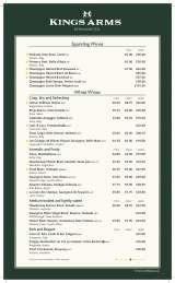Pricelists of The Kings Arms