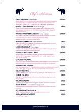 Pricelists of Shad indian restaurant
