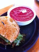 Half of our Meatloaf sandwich (all natural, local beef) with our vegetarian soup of the day (roasted beet with creamy montrechet & herbs de provence).