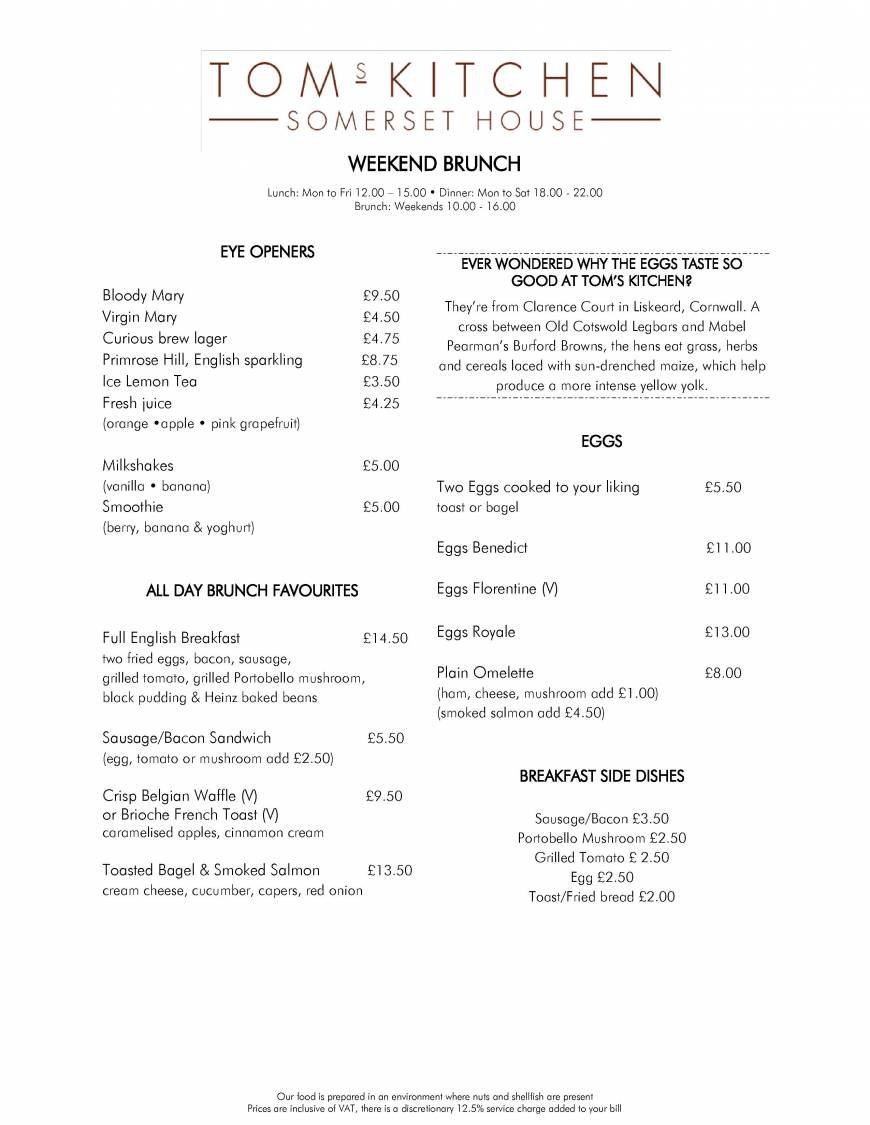 3 of 4 Price Lists & Menus – Tom\'s Kitchen - Somerset House London ...