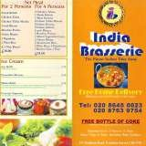 Pricelists of India Brasserie Indian Takeaway