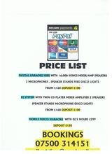 Pricelists of A1 Reliable Discotheques and Karaoke