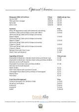 Pricelists of Friends Alley Catering