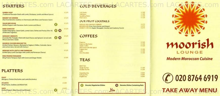 2 of 2 price lists menus moorish lounge african for African cuisine menu