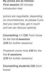 Pricelists of Manchester Counselling Angela Neild