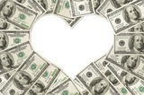 One hundred dollar bills in the shape of a heart isolated on white background, The love of money