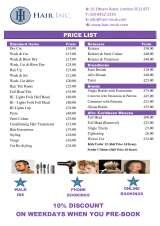 Pricelists of Hair Inc.