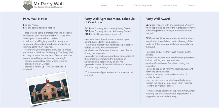 1 Of 1 Price Lists Menus Mr Party Wall Party Wall Surveyors