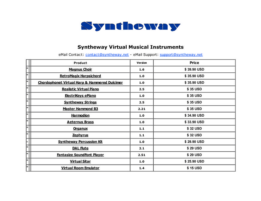 Pricelists of Syntheway Virtual Musical Instruments (Software Synthesis & Sampling) Street - Photo 1 of 1