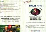 Pricelists of Balti King Tandoori Takeaway