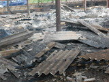 Asbestos cement debris after a fire