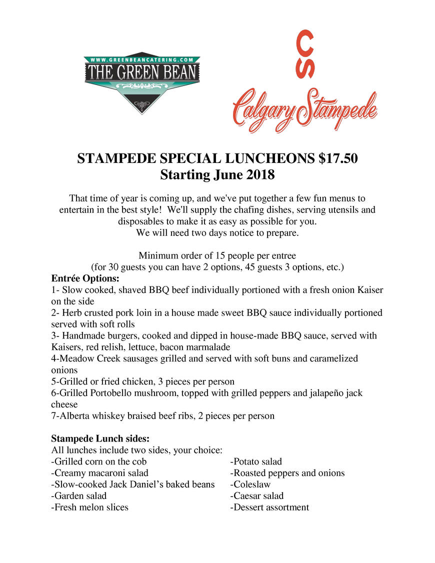 Pricelists of Green Bean Restaurant & Catering 102 550 6th Avenue SW - Photo 3 of 6