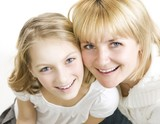 Mother with her teenage Daughter over white