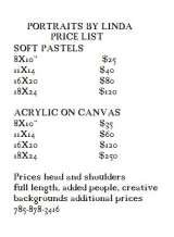 Pricelists of Portraits By Linda