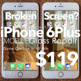 iPhone 6 Plus Cracked Glass Screen Replacement for $119. Fast Broken Glass Repair Near You!