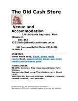 Pricelists of The Old Cash Store venue and Accommodation