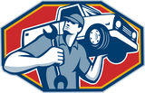 Illustration of an automotive mechanic carrying pick-up truck car vehicle on shoulder holding spanner wrench done in retro style.