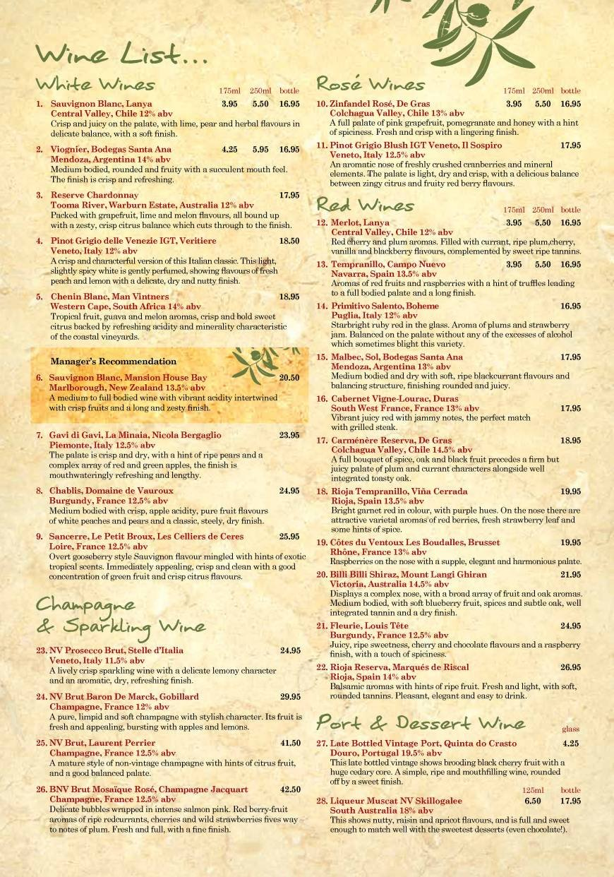 4 Of 10 Price Lists Menus The Olive Tree York York Greek Cuisine