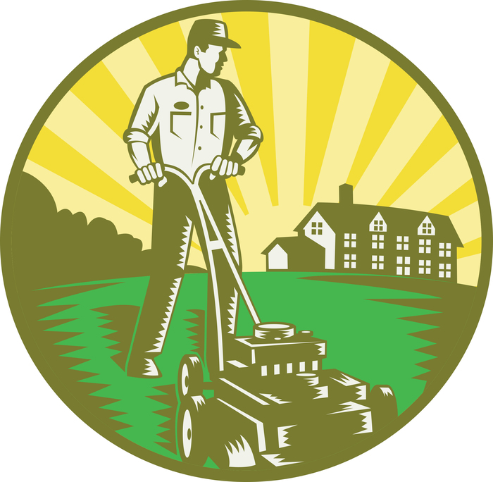 Illustration of a gardener with lawn mower mowing with residential house in background set inside circle done in retro woodcut style. Profile Photos of Lemnah Lawn & Grounds Service 6081 Pinchtown Road - Photo 3 of 3