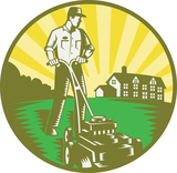 Illustration of a gardener with lawn mower mowing with residential house in background set inside circle done in retro woodcut style.