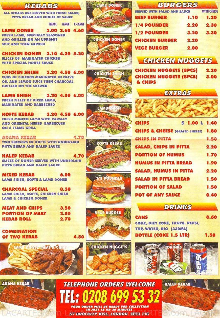 Pricelists Of Charcoal Grill Fast Food Takeaway 57 Brockley Rise   Photo 1  Of 1