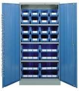 Blue linbins in large blue cupboard Storage Design Limited Primrose Hill