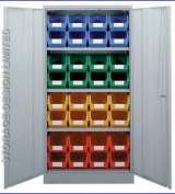 Colour linbins in large cupboard Storage Design Limited Primrose Hill