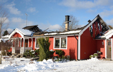 Swedish typical house burnt in winter season
