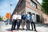 from left, Don Knight, Jim Chaconas, Jeff Knight, Brendan Cavender and Ronald Hughes stand out side the old Borders building in Ann Arbor where the Knights have signed a lease to open a restaurant.Courtney Sacco I AnnArbor.com